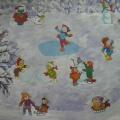 Создание сюжетной картины «Зимние забавы» для первой младшей группы