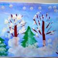 «Зимний лес». Нетрадиционная техника рисования тычком