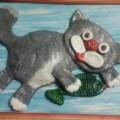 Картина из соленого теста «Серый кот»
