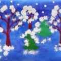 Интегрированная НОД по художественно-эстетическому развитию (рисование) во второй младшей группе на тему «Снегопад в лесу»