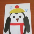Мастер-класс: аппликация из цветной бумаги «Пингвин»