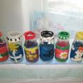 Фотоотчет о детских работах «Ваза из бутылочки и пластилина».