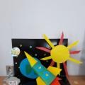 Выставка творческих работ ко Дню авиации и космонавтики в средней группе.