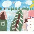 Занятие по рисованию в подготовительной группе «Зимний пейзаж»