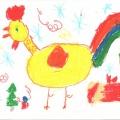 Огненный петух— символ 2017 года. Детские рисунки.