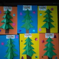 Мастер-класс «Открытка к Новому году» из картона, цветной бумаги и конфетти
