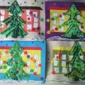 Мастер-класс Открытка «Праздничная елочка на площади нашего города». (Ниткография) Средняя группа.