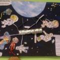 Коллективная творческая работа, посвященная Дню космонавтики с детьми 5–6 лет.