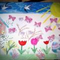 «Пришла весна». Коллективная работа детей младшей группы с использованием нетрадиционных техник в творчестве