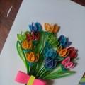 Мастер-класс по изготовлению поздравительной открытки в технике квиллинга «Тюльпаны»