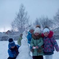 Фотоотчёт «Зимняя прогулка в подготовительной группе. Зимняя забава— лепим снеговиков»