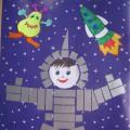 Мастер-класс с пошаговым фото. Открытка-аппликация «Космонавт» для детей 5–7 лет