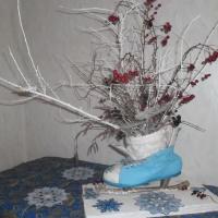 Поделка из природных и бросовых материалов «Зимний букет»