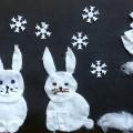 Аппликация «Зайчики в зимнем лесу». Конспект образовательной деятельности для детей подготовительной группы