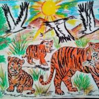 Рисунок воспитанника ко Дню Тигра