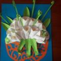 Аппликация из ватных дисков «Весенние цветы»