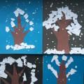 Конспект НОД ОО «Художественно-эстетическое развитие» для детей средней группы. Аппликация «Деревья в снегу»