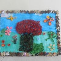 Коллективная работа детей 5–6 лет «Под грибом». Квиллинг