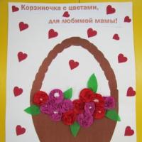«Корзиночка с цветами». Фотоотчет занятия кружка «Бумажные фантазии»