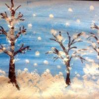 Рисование зимнего пейзажа с детьми старшего дошкольного возраста «Лес под снежным покрывалом». Фотоотчёт