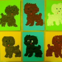 Фотоотчёт о работах по рисованию «Пушистые щенки»
