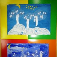 Фотоотчёт продуктивной деятельности детей по аппликации с элементами рисования «Зима-кружевница» (средне-старший возраст)