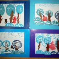 Фотоотчёт продуктивной деятельности детей 5–6 лет по аппликации из кругов с элементами рисования «Зимой в лесу под Новый год»