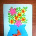 Мастер-класс изготовления открытки «Цветы для мамы»