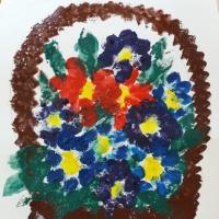 Мастер-класс по рисованию в нетрадиционной технике с использованием губки «Цветочная корзина»