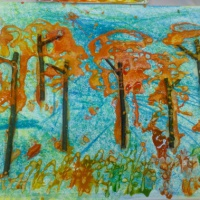 Фотоотчет о коллективной работе в нетрадиционной технике рисования «Осенний лес»
