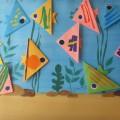 Конспект НОД по конструированию из бумаги (оригами) с элементами аппликации «Рыбки в аквариуме» (коллективная композиция)