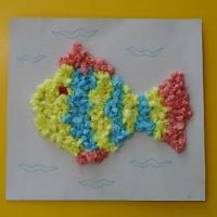 Мастер-класс изготовления коллективной аппликации «Рыбка из салфеток»