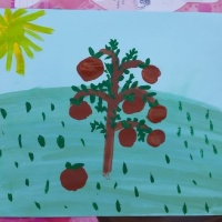 Детский мастер-класс по рисованию «Яблоня» с детьми старшего дошкольного возраста