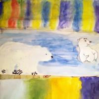 Рисование в нетрадиционной технике с элементами аппликации «Умка с Мамой Медведицей любуются северным сиянием»