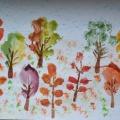 Конспект занятия по рисованию в технике печать листьями «Осенний лес». 1 часть