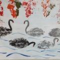 Конспект занятия по рисованию в технике печати листьями «Лебеди»