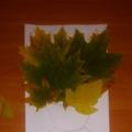 Нетрадиционная техника рисования— отпечатки листьев на бумаге. Коллективная детская работа на тему: «Осенний букет»