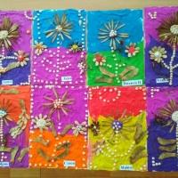 Аппликация из пластилина (пластилиновая живопись) и природного материала «Чудесные цветы» в подготовительной группе