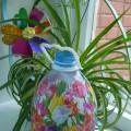 Декор бутылки для полива цветов