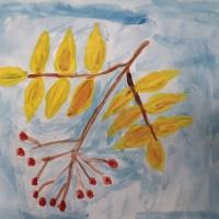 Фотоотчет детских работ «Ветка рябины»
