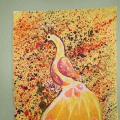 Творческая художественная работа в технике «Набрызг» «Жар птица»