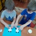 Аппликация из ватных дисков и палочек