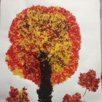 «Осеннее дерево». Аппликация в технике ниткографии