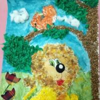 Фотоотчет о поделке «Трусливый Лев и Белка», выполненной в нетрадиционных техниках рисования и аппликации