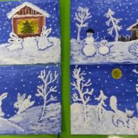 Мастер-класс нетрадиционного рисования в старшей группе «Сказки зимней ночи»