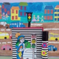 Конспект НОД в средней группе коллективная аппликация с элементами рисования «Безопасный город»