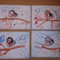 Нетрадиционная техника рисования— пуантилизм (рисование ватными палочками) «Снегирь на веточке рябины»