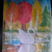 Конспект НОД по нетрадиционному рисованию монотипией в подготовительной группе «Осенний пруд»