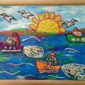 «А по морю плывут корабли». Коллективное творчество детей старшей логопедической группы. Пластилинография (мастер-класс)