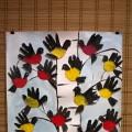 Рисование при помощи ладошек «Птицы зимой» (вторая младшая группа)